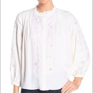 NWT Joie Teda Floral Embroidered Blouse, XS